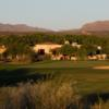 A sunset view of a hole at Tubac Golf Resort.
